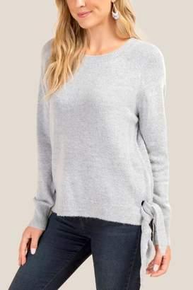 francesca's Leanna Side Tie Sweater - Heather Gray