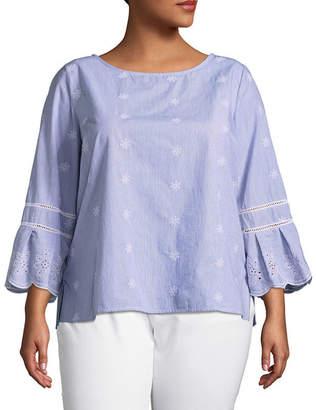 Liz Claiborne Embroidered Shirting Top- Plus