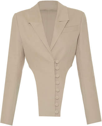 Lado Bokuchava Button-Detailed High-Low Cotton Blazer Size: XS