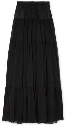 Saint Laurent Tiered Silk-chiffon Maxi Skirt - Black