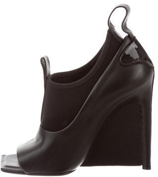 Balenciaga  Balenciaga Leather Peep-Toe Booties w/ Tags