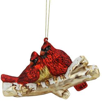 Asstd National Brand 4 Red Glitter Cardinal Birds on Snowy Branch Glass Christmas Ornament
