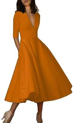 OMZIN Womens Vintage Knee Length Retro Swing Midi Skater Dress ,3XL