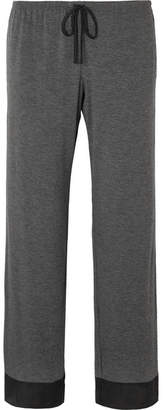 DKNY Satin-trimmed Stretch-jersey Pajama Pants - Charcoal