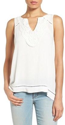 Women's Matty M Crochet Neck Split Back Sleeveless Top $68 thestylecure.com