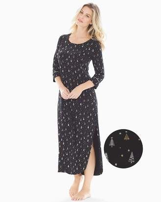 Embraceable Long Sleepshirt Twinkle Trees Black