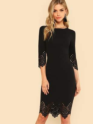 Shein Laser Cut Scallop Pencil Dress