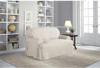 Serta Cotton Duck T-Cushion Loveseat Slipcover