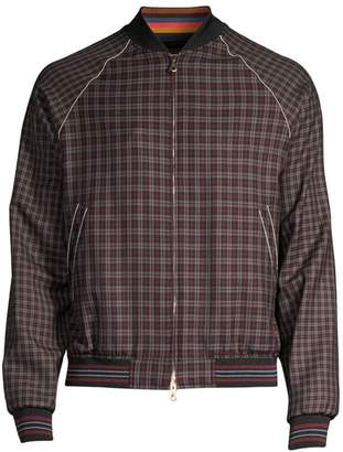 Paul Smith British Wool Contrast Check Bomber Jacket
