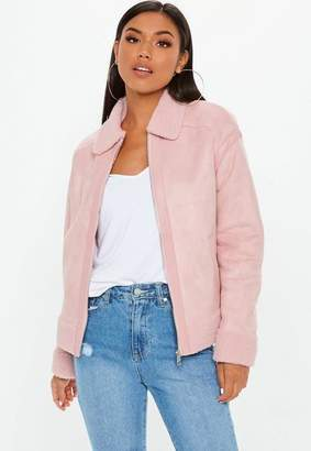 Missguided Pink Faux Fur Trim Aviator Jacket