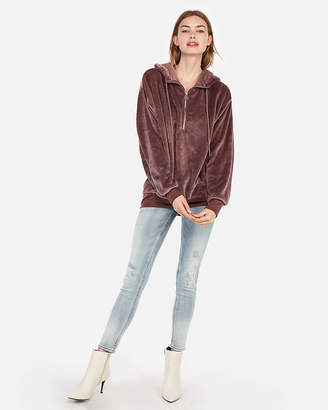 Express One Eleven Oversized Velour Hoodie