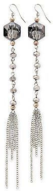 JCPenney Mixed-Metal Beaded Chain Long Drop Earrings