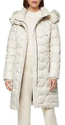Andrew Marc Plymouth Quilted Faux Fur-Trim Down-Filled Coat