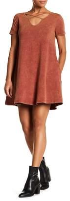 Angie Mineral Wash Crisscross Tee Dress