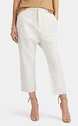 Nili Lotan Women's Luna Cotton-Linen Drop-Rise Pants - Eggshell