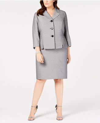 Le Suit Plus Size Printed Three-Button Skirt Suit