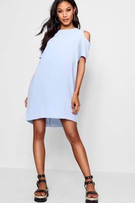 boohoo Cold Shoulder Textured Shift Dress