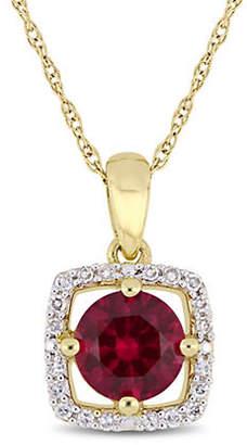 HBC CONCERTO 10K Yellow Gold Halo Birthstone Necklace with 0.1 TCW Diamond