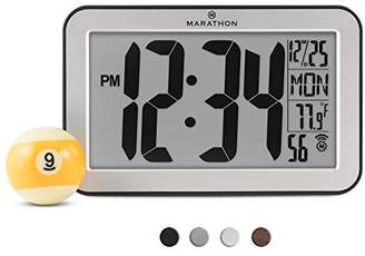 Marathon CL030033SV Panoramic Atomic Self-setting Self-adjusting Wall Clock w/Stand & 8 Timezones - Brushed Silver - Batteries Included