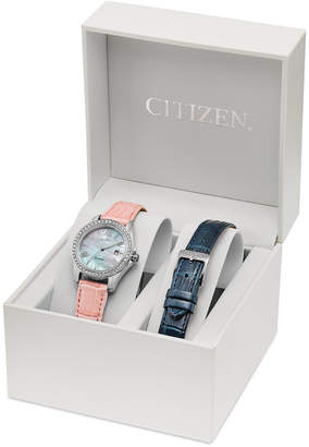 Citizen Eco-Drive Women's Silhouette Interchangeable Leather Strap Watch Set 28mm EW1901-40D