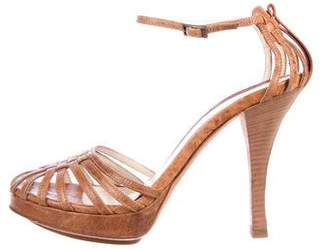 Fendi Leather Ankle-Strap Sandals