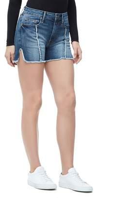 Good American Bombshell Raw Seam Denim Shorts (Blue 134) (Regular & Plus Size)