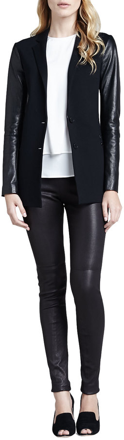 Theory Redell Side-Zip Leather Pants, Black