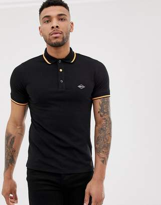 Replay stretch pique neck logo polo in black