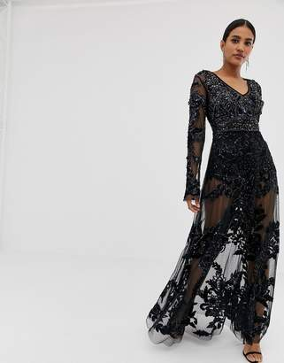 fdd002f3d7 A Star Is Born A Star is Born allover embellished maxi dress in black
