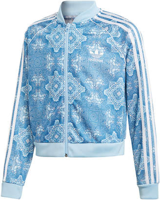 adidas Big Girls Printed Cropped Track Jacket