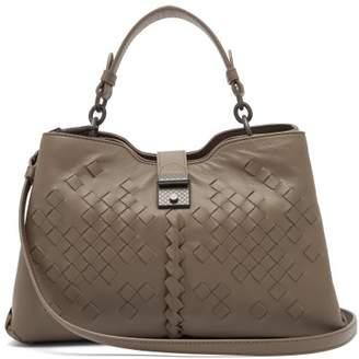 Bottega Veneta Napoli Intrecciato Small Leather Bag - Womens - Grey