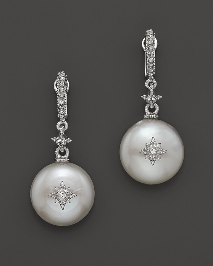 Judith Ripka Laguna Cultured Coin Pearl Drop Earrings with White Sapphire