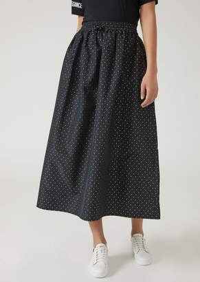 Emporio Armani Long Flared Skirt In Polka Dot Fabric