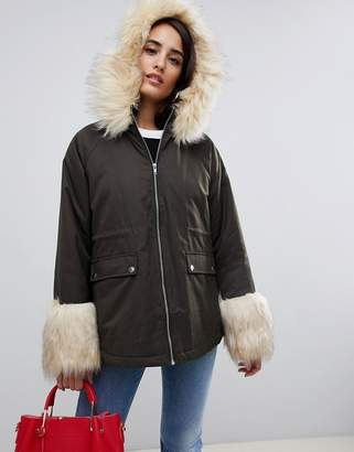 Asos Design Parka with Faux Fur Collar and Cuff