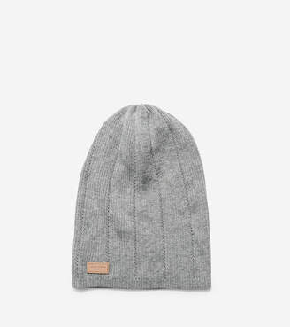 Cole Haan Cashmere Blend Rib Pointelle Slouchy Beanie