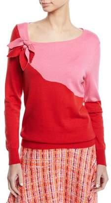 DELPOZO Long-Sleeve Bicolor Asymmetric Colorblock Bow-Neck Sweater