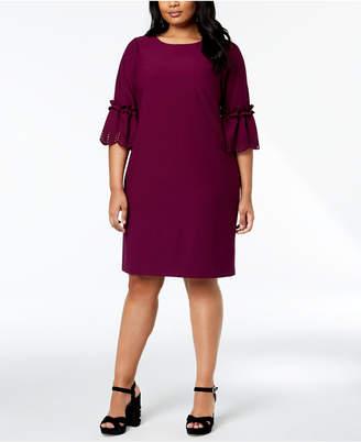 Jessica Howard Plus Size Laser-Cut Bell-Sleeve Dress