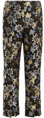 Erdem Syrah Floral Jacquard Cropped Trousers - Womens - Black Multi