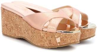 Jimmy Choo Prima leather wedge sandals