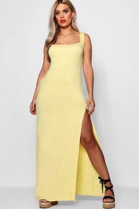 boohoo Plus Square Neck High Split Maxi Dress