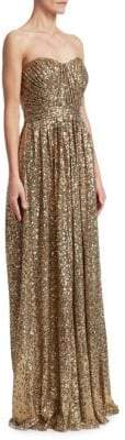 Badgley Mischka Draped Sequin Gown
