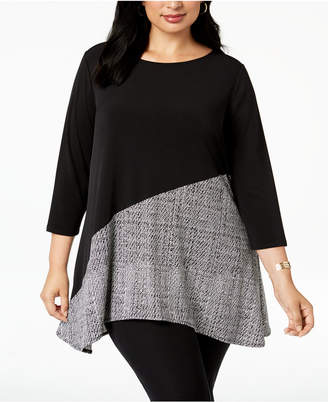 Alfani Plus Size Colorblocked Tunic, Created for Macy's