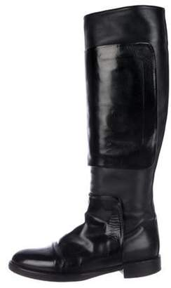 Pierre Hardy Leather Round-Toe Knee-High Boots Black Leather Round-Toe Knee-High Boots