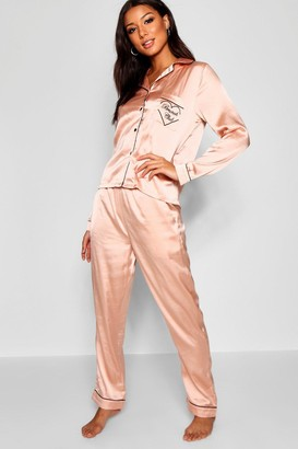 boohoo Brunch Club Embroidered Satin PJ Set