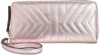 INC International Concepts I.n.c. Glam Metallic Quilted Zip-Around Wallet, Created for Macy's