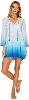 LaBlanca La Blanca Last Night in Morocco Embellished V-Neck Tunic Cover-Up Women's Swimwear