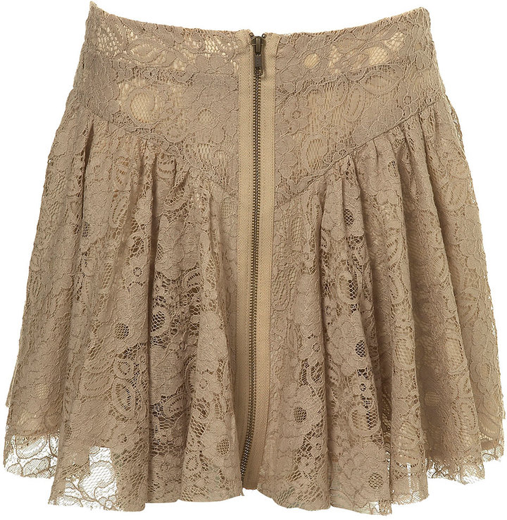 Zip Front Lace Skirt