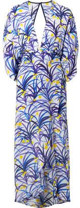 Jaline - Kelly Wrap-effect Printed Silk Crepe De Chine Midi Dress - Purple