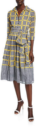 Samantha Sung Audrey 2 Vivier Check Border 3/4-Sleeve Musola Dress