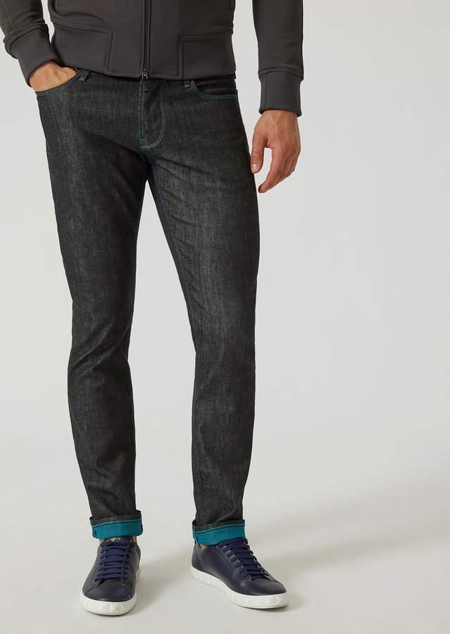 Emporio Armani J06 Slim-Fit Rinsed Twill Jeans